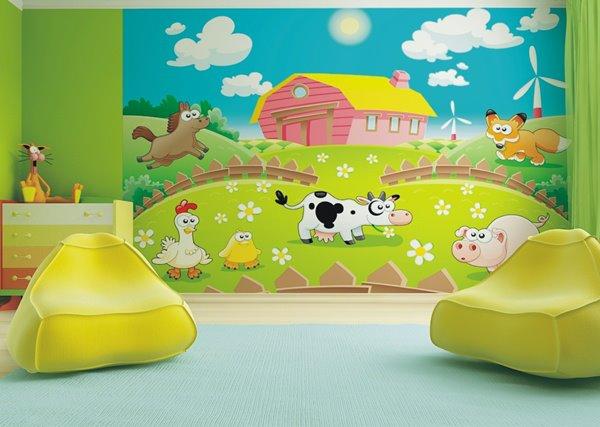 Fotomurales animalitos granja papel pintado barcelona for Fotomurales infantiles