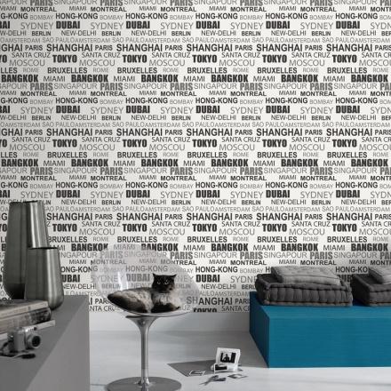 Papel Pintado Nombre Ciudades - Black and White