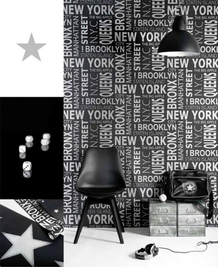 Papel Pintado Juvenil Vibe Tipográfico New York