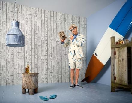 Papel pintado imitación a madera Lars Contzen