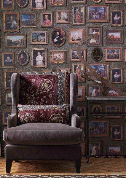 Papel Pintado Museum Andrew Martin, decoracion clasica cuadros