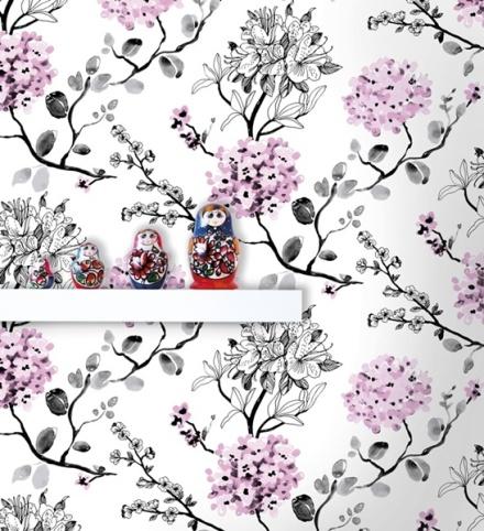 Papel Pintado Rosa Pastel Floral 4983-1