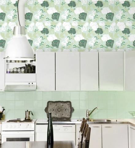 Papel Pintado Flores Verdes 4982-3