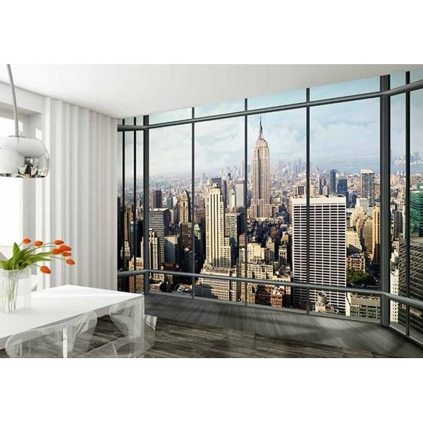 Fotomural ventana nueva york papel pintado barcelona - Papel pintado nueva york ...