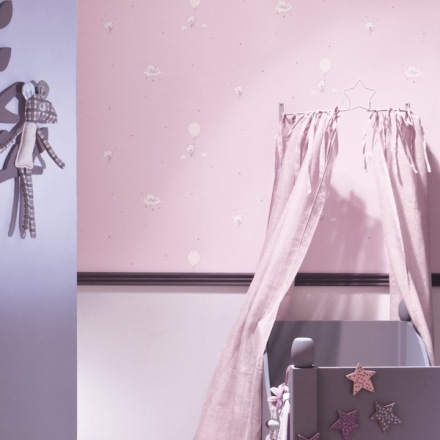 Papel Pintado Babies Infantil en rosa de ositos 10123 y topos 10147
