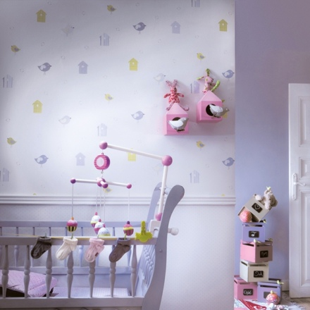 Papel Pintado Babies casitas de pajaritos 10133