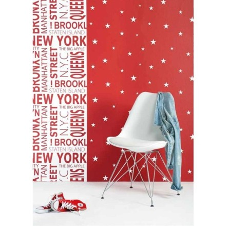 Papel Pintado Estrellas Blancas Fondo Rojo Vibe 4995-2