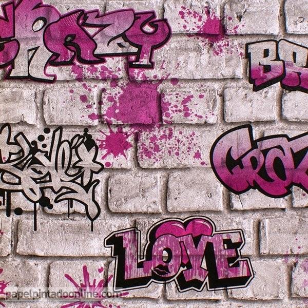 Papel Pintado Graffiti en Rosa