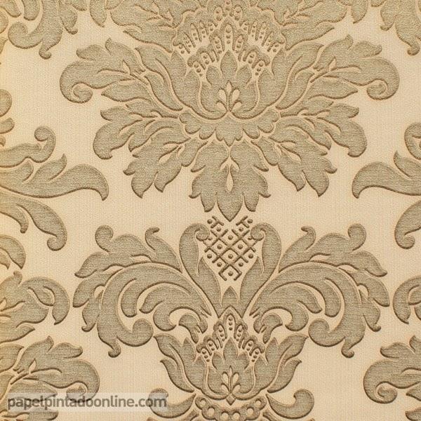 Papel Pintado Damask beige y dorado