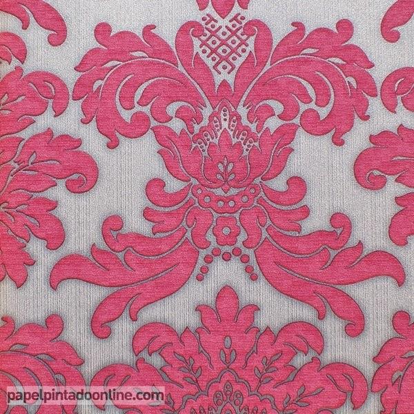 Papel pintado damask en plata y rosa papel pintado barcelona for Papel pintado blanco y plata