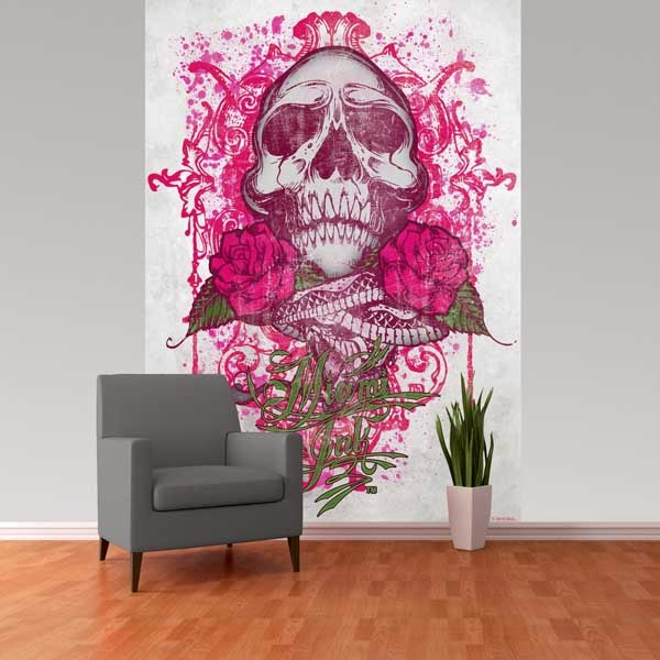 Mural calavera rosa w2pl miamiink 002 papel pintado for Murales decorativos juveniles