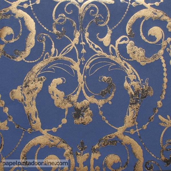 Papel pintado flock 4 papel pintado barcelona for Papel pintado azul y plata