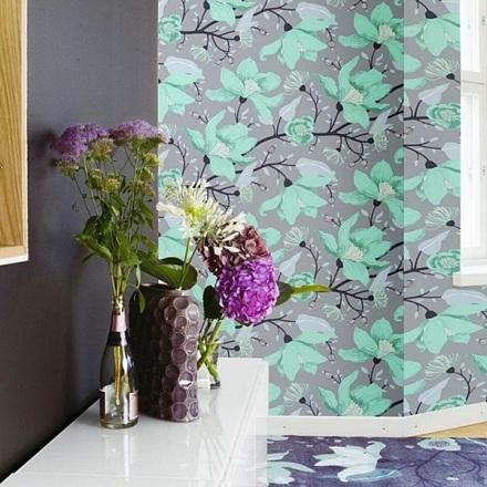 Papel Pintado Vallila Sarastus Flores Verdes Elegantes