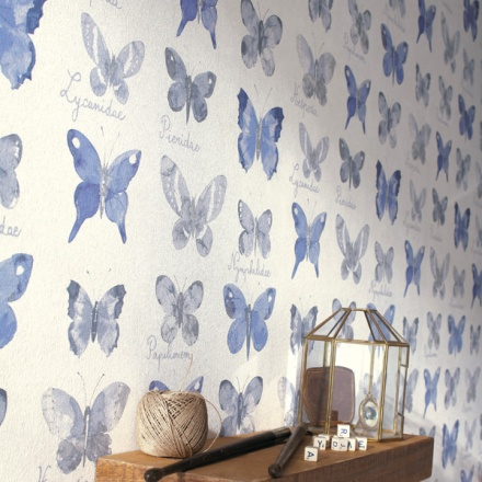 Papel Pintado Mariposas Azules