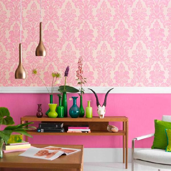Papel pintado damasco rosa liquidaci n papel pintado barcelona - Papel pintado rosa ...