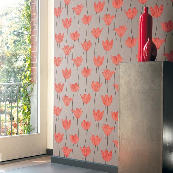 Papel Pintado Flores Jersey Naranja
