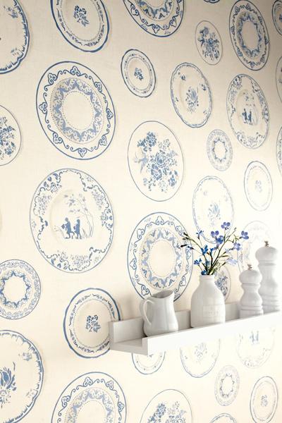 Papel pintado de platos papel pintado barcelona - Papel pintado vinilico cocina ...