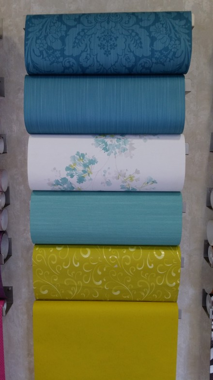 Papel Pintado Azul y Verde Lima