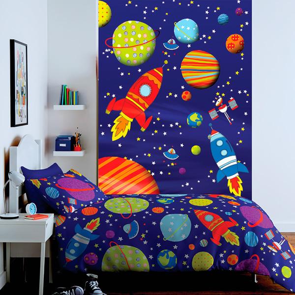 Fotomural infantil planetas universo papel pintado barcelona - Mural pared infantil ...