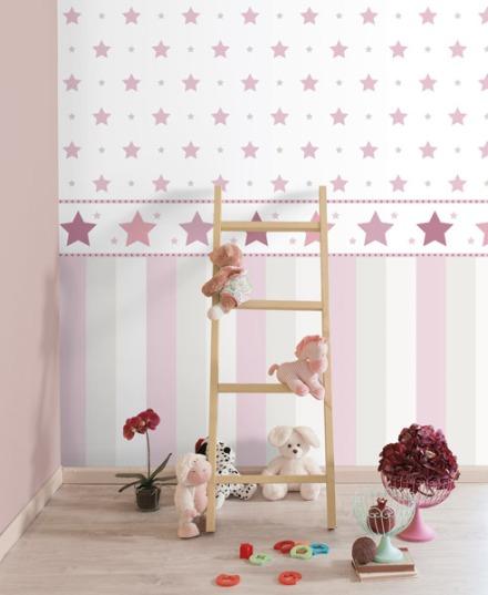 Papel pintado estrellas rosas grandes
