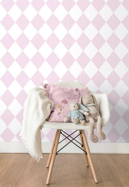 Papel pintado geométrico infantil, rombos rosa pastel