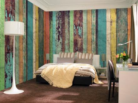 Fotomural Non Woven listones de madera de colores