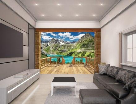 Mural profundidad paisaje montaña