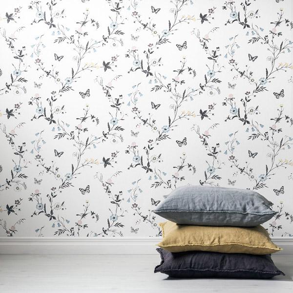 Papel pintado plantas florales con mariposas