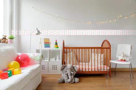 Cenefa Infantil Estrellas CEI020A , rosa, gris y beige