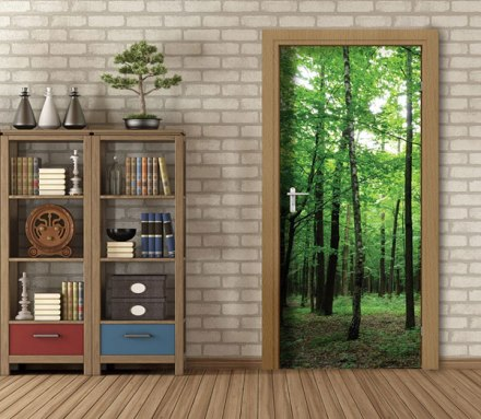 Fotomural puerta bosque verde profundidad FTV-1534