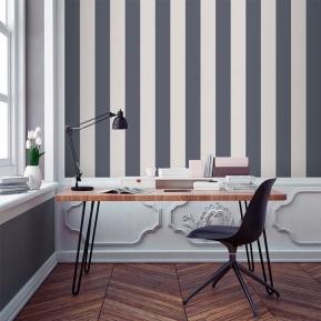 Papel pintado rayas azul grisáceo y blanco roto-beige 910