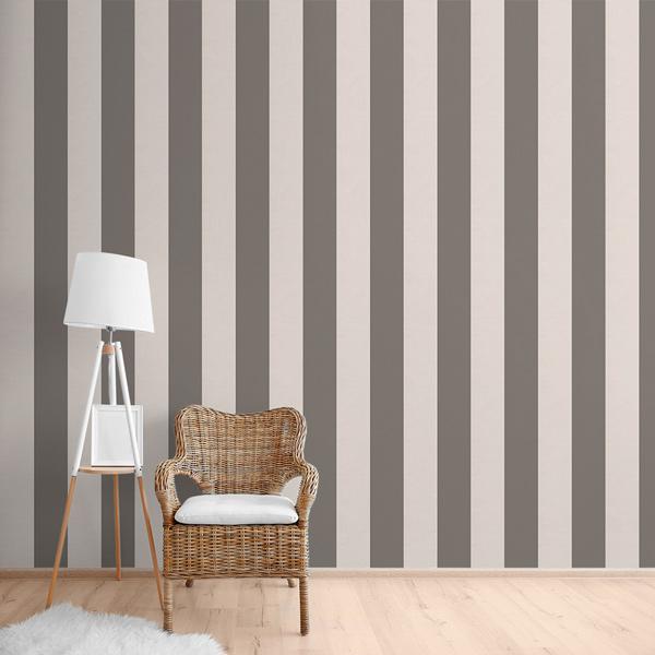 Papel pintado rayas gris oscuro y blanco roto beige 912 - Papel pintado rayas grises ...