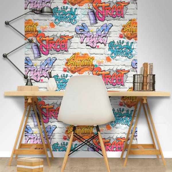 Papel pintado graffiti en ladrillo Freestyle