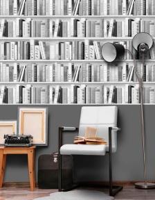 Papel pintado librería blanco y negro Freestyle