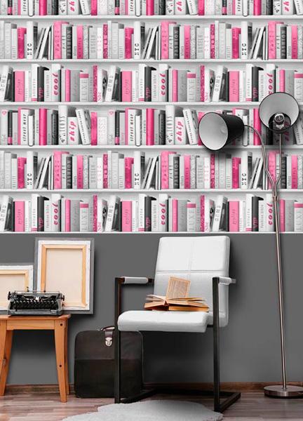 Papel pintado librería rosa y blanco Freestyle