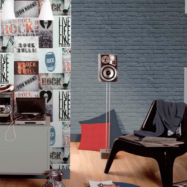 Papel pintado ladrillo azul y collage rock Freestyle
