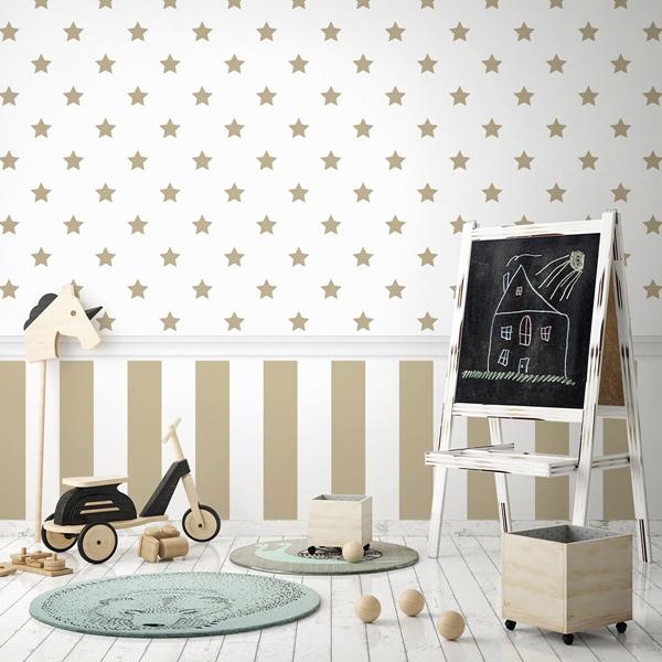 Papel pintado infantil estrellas doradas 936