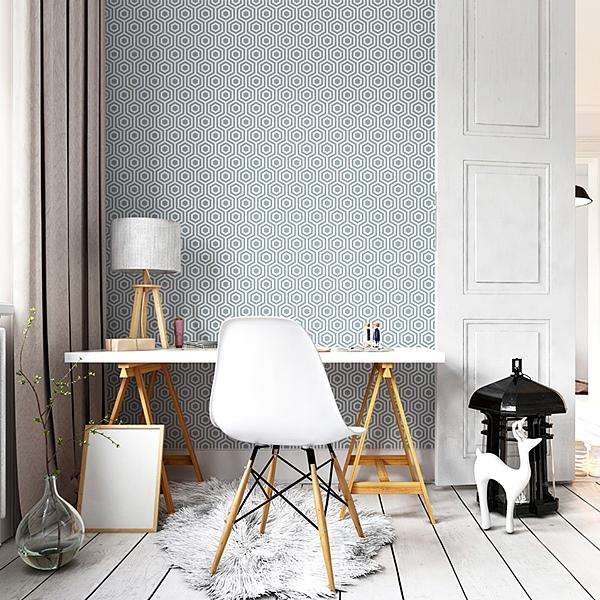 Papele pintado geom trico hex gonos papel pintado barcelona - Papel pintado barcelona ...