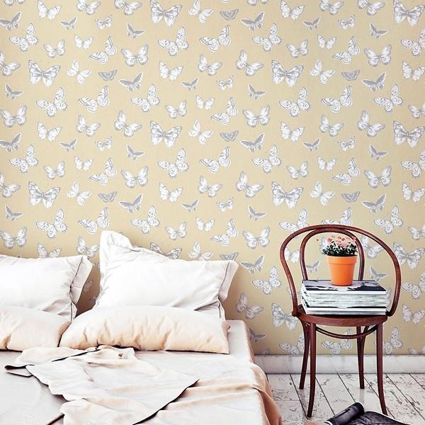 Papel pintado mariposas beige 951