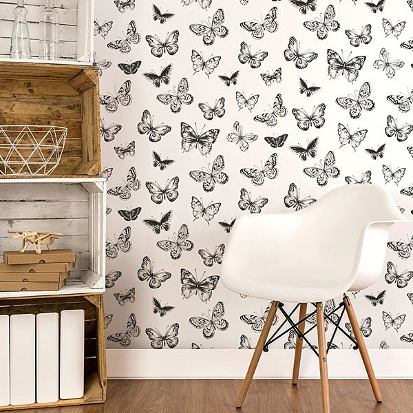 Papel pintado mariposas blanco y negro 955
