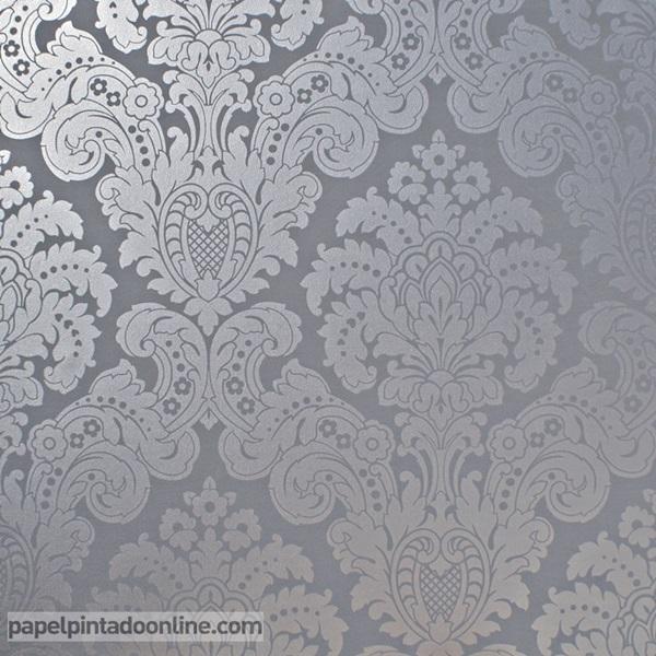 Papel pintado damasco plata y gris oscuro 5288-6