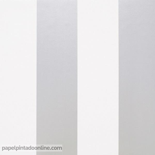 Papel pintado rayas plata y gris 916