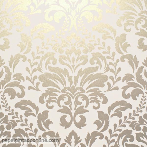Papel pintado damasco dorado y beige 925