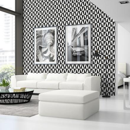 Papel pintado geométrico blanco y negro, referencia 999