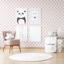 Papel pintado geométrico triángulos rosa y blanco , decoración infantil, referencia 994