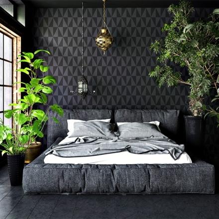 Papel pintado geométrico triángulos color gris oscuro y negro, referencia 995 decoración elegante