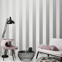 Papel pintado rayas plata y gris