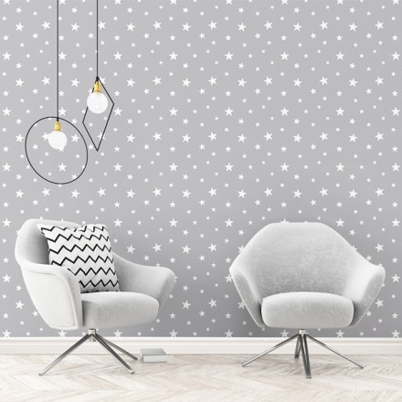 Papel pintado estrellas blancas fondo gris 005