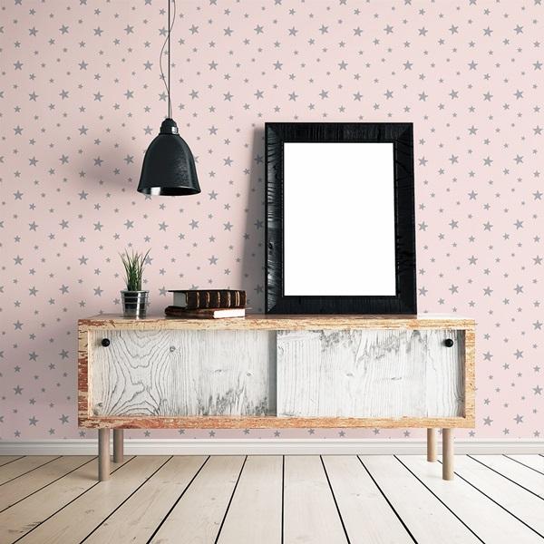 Papel pintado estrellas grises fondo rosa 008