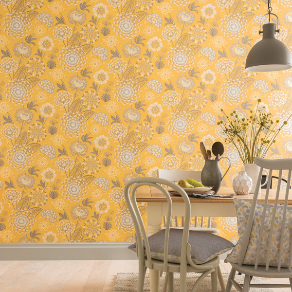 Papel pintado floral nórdico Bloom 676206